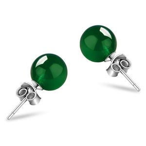 Jewelry - New Natural Green Agate Dainty Stud Earrings 925